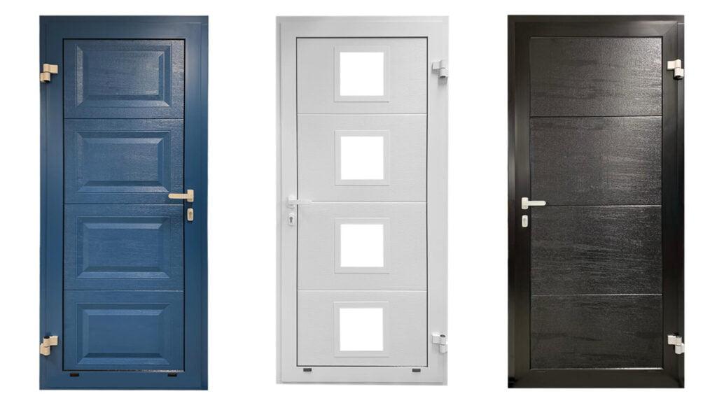 Tre Lobas garasjedører: Blå, hvit med fire vinduer, sort. Fotomontasje av produktbilder.